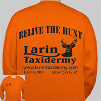 Crew Neck Sweatshirt Orange     RELIVE THE HUNT     Larin Taxidermy