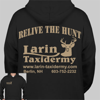 Hooded Sweatshirt Black     RELIVE THE HUNT     Larin Taxidermy